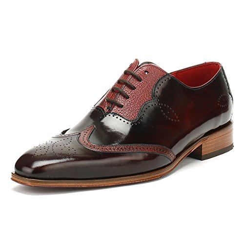 Jeffery-West Mens College Burgundy Capone Brogue Oxford Shoes-UK 7 (Shoe Brogue Welted)