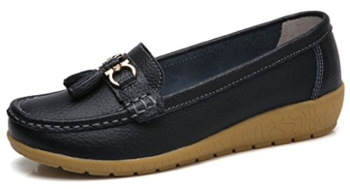 Labato Womens Leather Casual Loafers Slip-ONS Driving Flats Shoes