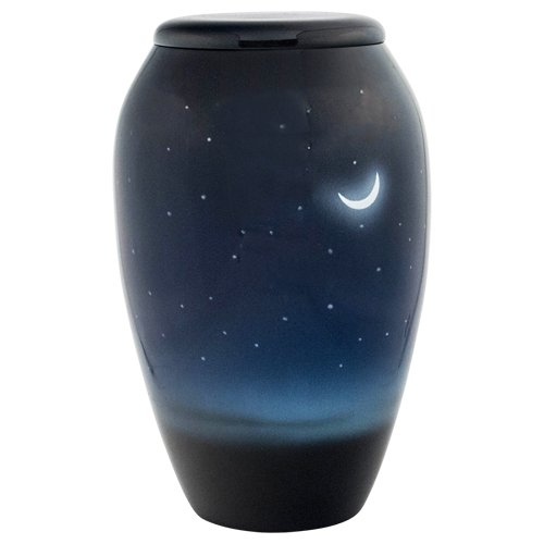 Silverlight Urns Evening Sky Cremation Urn, Blue Metal Funeral Urn for a Star Astronomy Enthusiast ()