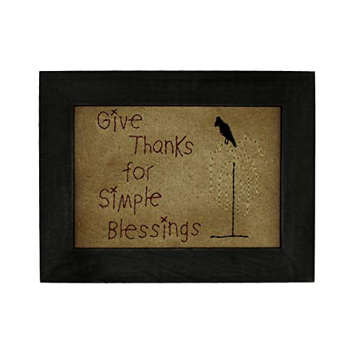 CVHOMEDECO. Primitives Antique Give Thanks for Simple Blessings Stitchery Frame Wall Mounted Hanging Decor Art, 9 x 7 Inch (Decor Primitive Clearance)