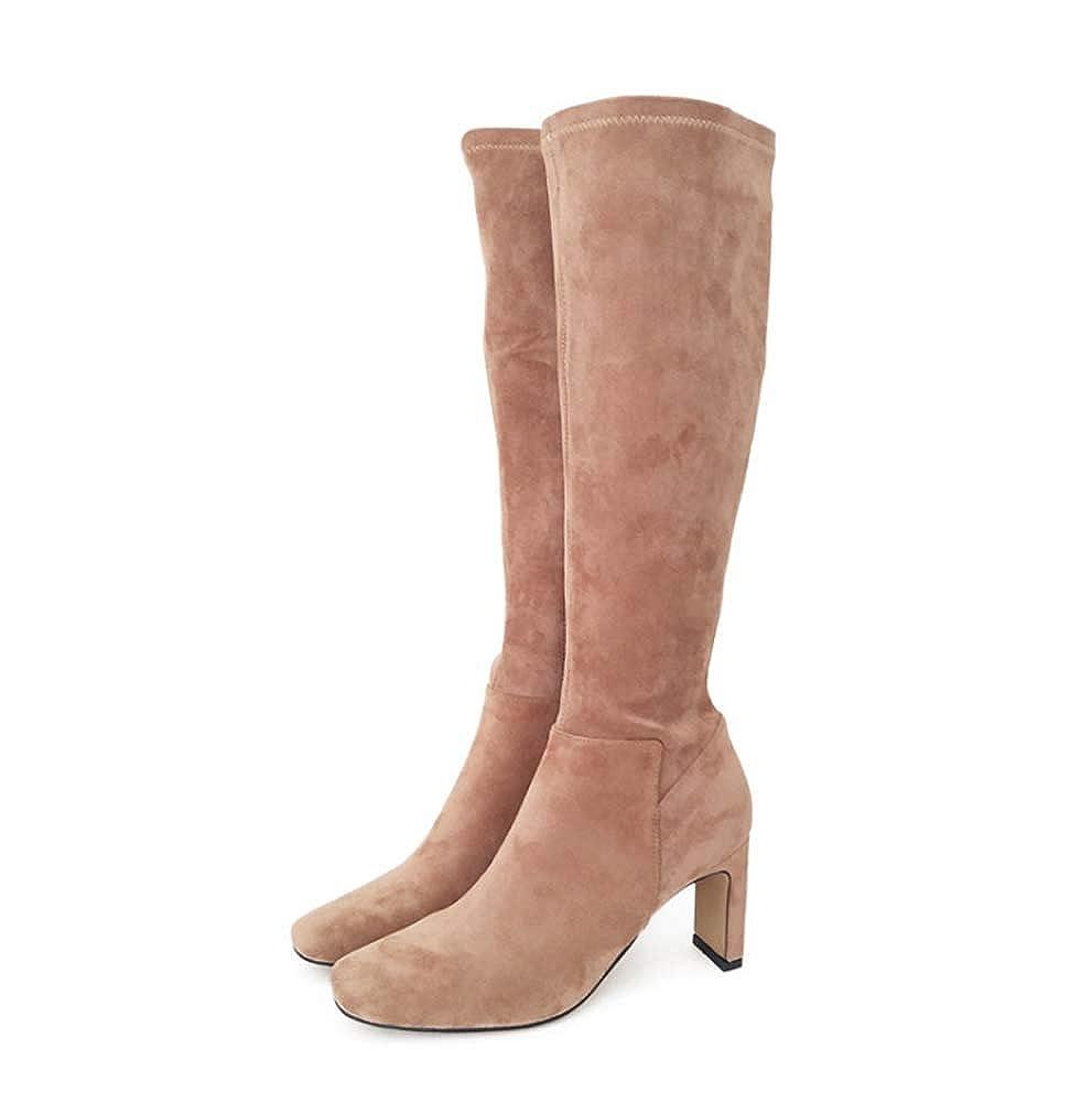 HYLFF Ladies damen Winter Sexy Stretch Pull On Stiletto High Heel Platform Over Knee Thigh Knee Stiefel Slim Calf Stretch Zip Up schuhe Stiefel Stiefel
