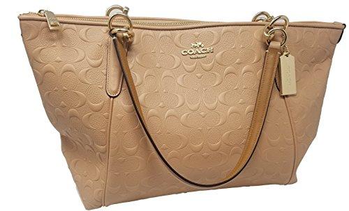 Coach AVA Leather Shopper Tote Bag Handbag (Nude Pink - Shoulder Coach Bag Embossed