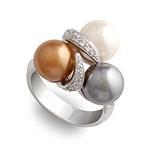 JanKuo Jewelry White Gray and Champagne Color Simulated Pearl Cocktail Ring with Gift Box