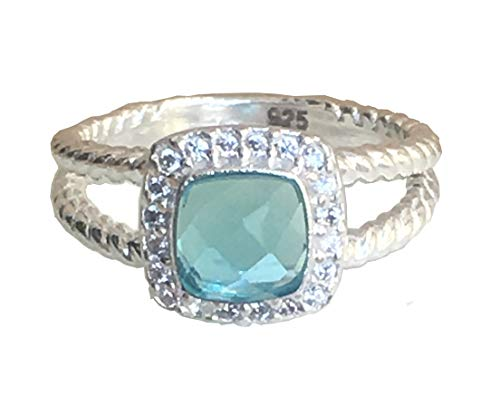 Gempara 7x7mm Petite Albion Ring with Blue Topaz and VS1/E Simulated Diamonds (8.5)