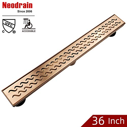 Neodrain 36 Inch Brushed Copper Rectangular Linear Shower Drain with Grate, Brushed copper 304 Stainless Steel Bathroom Floor Drain,Shower Floor Drain