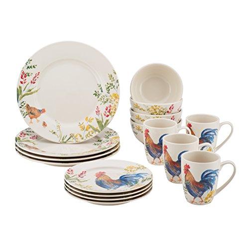 Paula Deen Dinnerware Garden Rooster 16-Piece Stoneware Dinnerware Set, Print (Chicken Dishes)