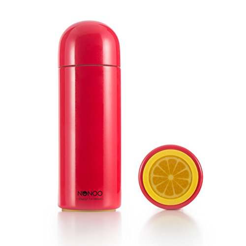 NONOO Vacuum Insulated Stainless Steel 9oz Commuter Bottle, Double Wall Thermos Flask, Cherry Red
