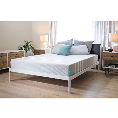 "Leesa 10"" Memory Foam Mattress in a Box, Luxury CertiPUR-US Certified 3 Layer Foam Construction, King, Gray & White"