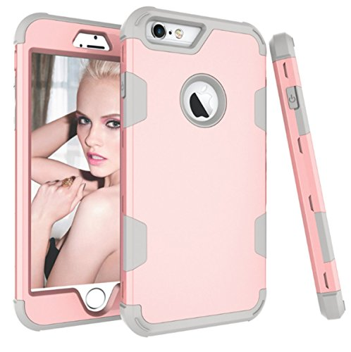 Price comparison product image Beryerbi iPhone 6/6s Case Hybrid Slim With Hard PC and Soft TPU Cover for Apple 6S & iPhone 6 (RoseGold+Grey, iPhone 6/6s)