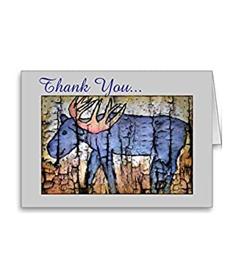 Moose Thank You Card - Distressed Wood Watercolor Drawing: Blank Inside, All Occasion Foldover Greeting Cards, a Bulk 8 Count Set of Our Best Design