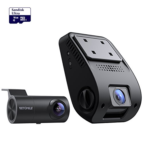 VETOMILE V3 Dual Dash Cam Full HD 2160P 170 Degree Wide Angle Dashboard Camera with G-Sensor, WDR, Night Vision, Looping Recording,16GB Card Included