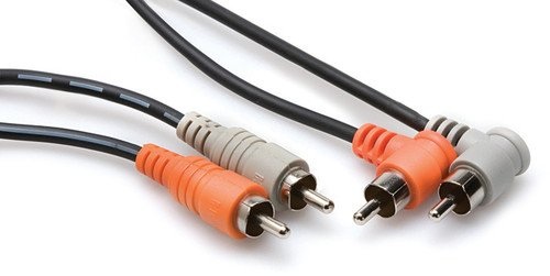 Hosa CRA-202R Dual RCA to Right Angle RCA Cable (6.6 feet)