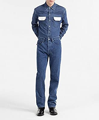 Calvin Klein Men's Blue Western Denim Shirt Contrast Pockets