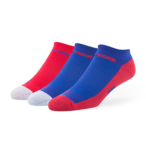 NFL New York Giants Women's '47 Gait Sport No-Show Socks, Medium, 3-Pack - New York Giants Womens Socks