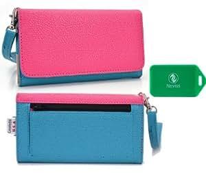 Alcatel One Touch X'Pop*Ladies Dual Color baby blue/magenta Wristlet PLUS bonus Neviss luggage tag*