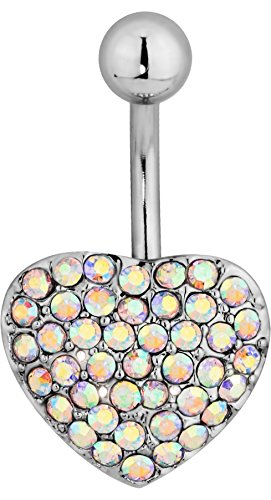 - Aurora Borealis Pave CZ Crystal Heart Bling Belly Button Ring