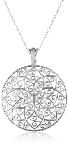 Sterling Silver Mandala Filigree Medallion Pendant Necklace, 18