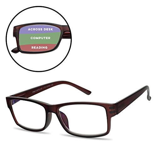 - Rectangular 3 in 1 Prescription Reading Glasses Spring Hinge Classic Frame Progressive Magnification Strength Readers (Brown Frame, 2.50)