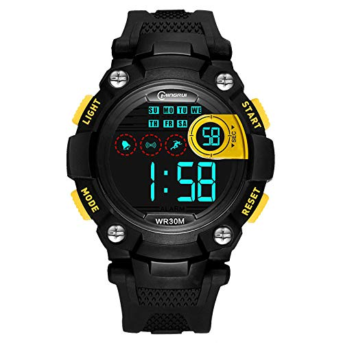 Relojes para niños Niños Niños Chicas Deportes Analógico Digital Impermeable LED Luz Negro Azul Amarillo Relojes