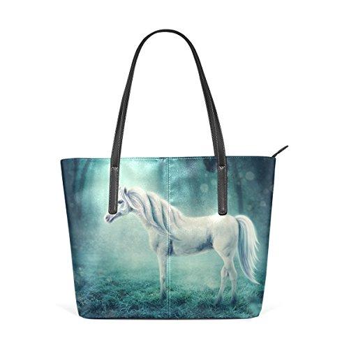COOSUN Unicornio blanco en un hombro de cuero de la PU del monedero del bolso del bosque y bolsos bolsa de asas para las mujeres Medio muticolour