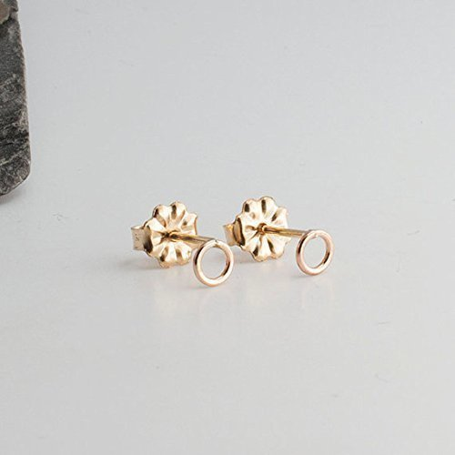 Tiny Open Ring Gold Stud Earrings 4mm by Fashion Art Jewelry