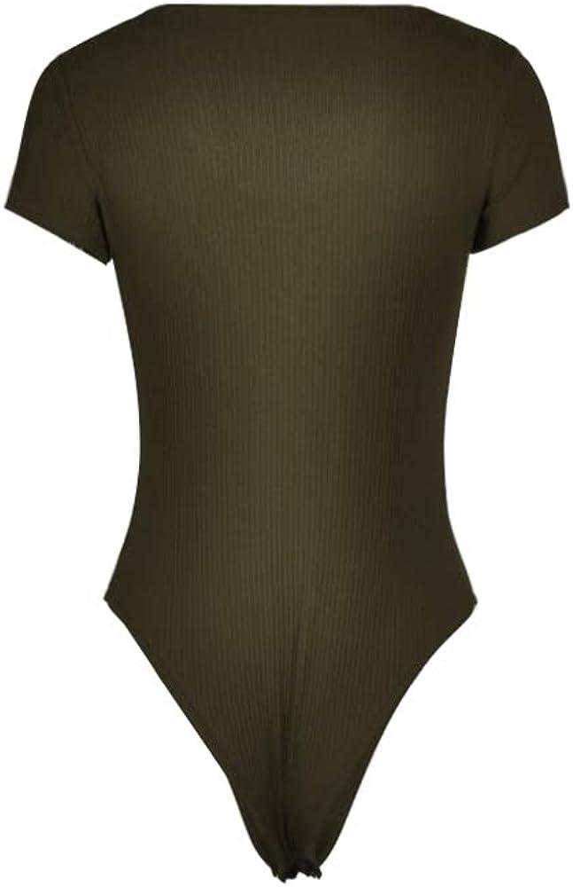 Womens Crew Neck Short Sleeve Button Down Stretch Shapewear Romper Bodysuit