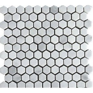 Bianco White Carrara 1 Hexagon HONED Mosaic Tile on 12x12 Sheet