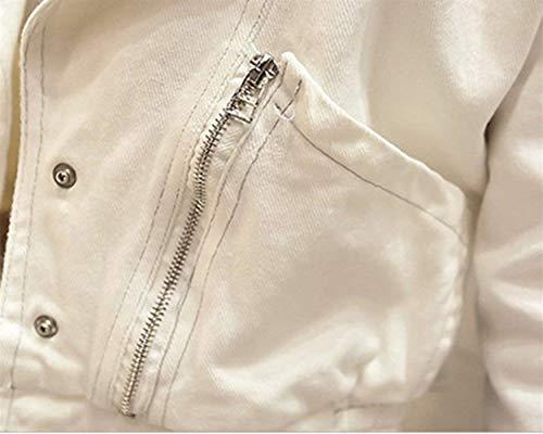 Solidi Giacca Corto Semplice Primaverile Outerwear Fit Bianca Fashion Eleganti Giacche Casual Cappotto Slim Denim Bavero Lunga Glamorous Donna Autunno Colori Manica Jeans TqHBxw8