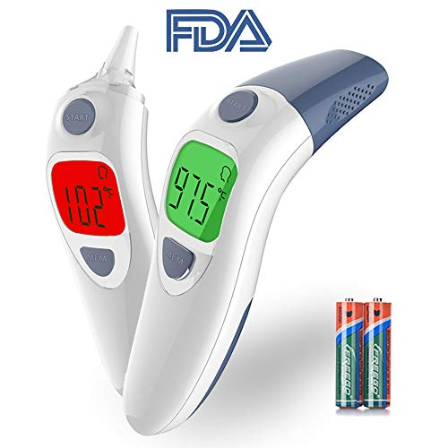 Besyoyo Baby Clinical Ear and Forehead Thermometer,FDA Approved Infrared Digital Thermometer,Fast and Accurate Thermometer with Fever Alarm for Kids & Adults(Included Battery)