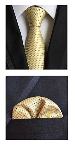 MENDENG Men's Gold Plaid Checks Silk Necktie Wedding Ties Hanky 2 Pieces Sets