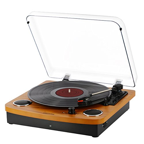 Bluetooth Vinyl Turntable Record Player,JOPOSTAR LP 3-Speed Belt Driven with Built-in Stereo Speakers, Aux Input & RCA Output, Natural Wood