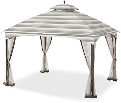Garden Winds Replacement Canopy for The Massillon Biscayne Gazebo – Standard 350 – Stripe Stone
