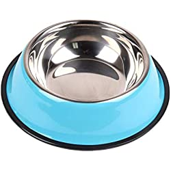 PG-One Stainless Steel Dog Bowl Pet Feeding Bowls for Cats or Drinking Fountain Dog Goods for Pets Dogs,Blue,L
