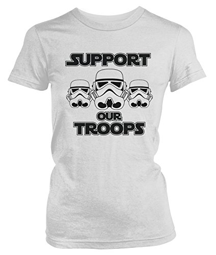 Amdesco Junior's Support Our Troops, Stormtrooper T-Shirt, White Small