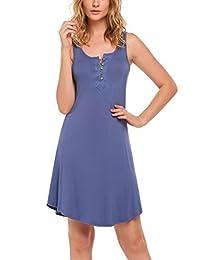 Ekouaer Nightgown Women's Henley Sleeveless Sleep Shirt Button Down Nightshirt Sleepwear S-XXL