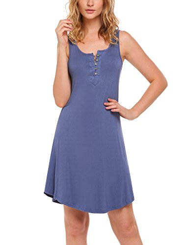 Ekouaer Summer Nightgown Women's Sleeveless Sleepwear Nightshirts Sleep Dress Cobalt Blue M (Nightshirt Sleeveless)