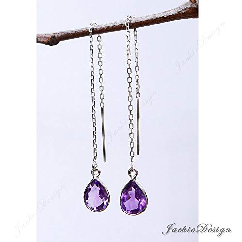 10mm Tear Drop Purple Amethyst Threader Sterling Silver Chain Earrings JD53