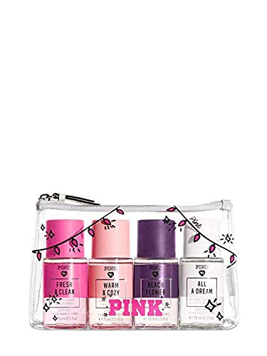 Victoria Secret Pink Fragrance Mist Set Travel Size 4 Piece Fresh and Clean, Warm and Cozy, Beach Flower, All A Dream -