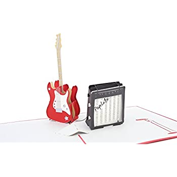 PopLife Guitar and Amp 3D Pop Up Fathers Day Card - Happy Birthday Pop Up Congratulations Card, Guitar Card, Retirement - Guitar Teacher Gift, Musician, ...