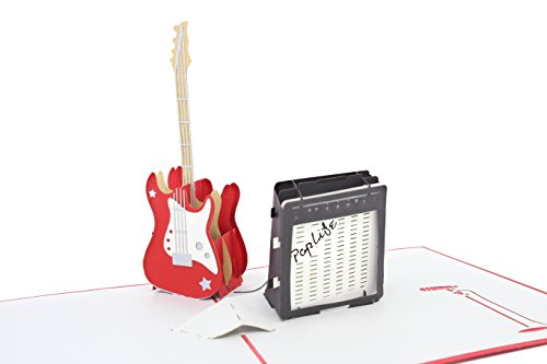 (PopLife Guitar and Amp 3D Pop Up Fathers Day Card - Happy Birthday Pop Up Congratulations Card, Guitar Card, Retirement - Guitar Teacher Gift, Musician, Student, Band Present, Music School, Graduation)