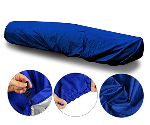 iiSPORT Kayak Cover - 13.5ft-15ft UV Resistant StormPro Waterproof Canoe Storage Dust Cover with Pull Cord to Tighten Up, Prolonging The Life & Look of Your Kayaks,Dark Blue ()