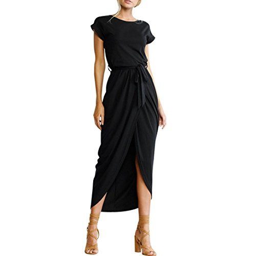 OOEOO Formal Dress, Women Boho Long Maxi Dress Evening Party Beach Split Sundress with Belt (Black, XXL)