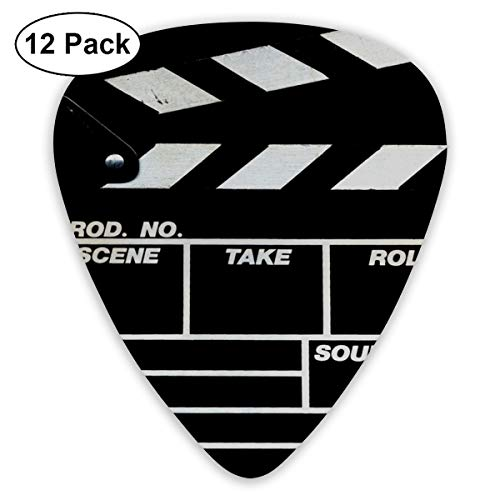 Retro Black Movie Clapboard 351 Shape Classic Celluloid Guitar Pick For Electric Acoustic Mandolin Bass (12 Count) ()