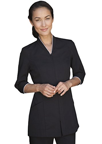 Averill's Sharper Uniforms Ladies Pravia Zipper Front with Piping Spa Tunic 3/4 Sleeve, XS, ()