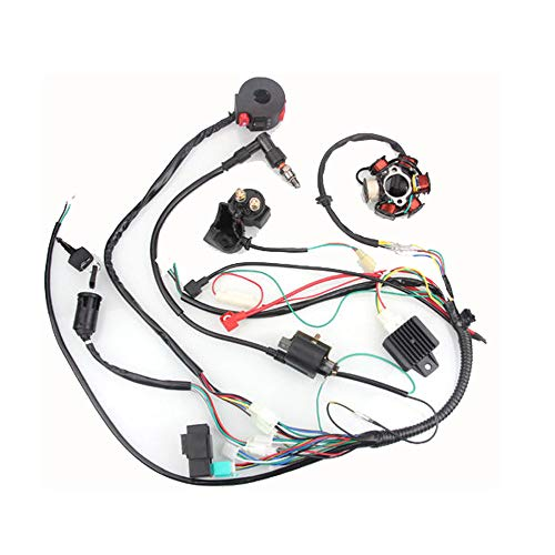 NeDonald 50CC-125CC Mini ATV Complete Wiring Harness CDI STATOR 6 Coil Pole Ignition Electric