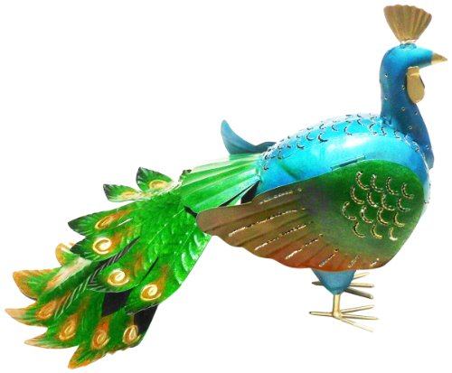 D-ART COLLECTION Iron Candle Holder, Peacock