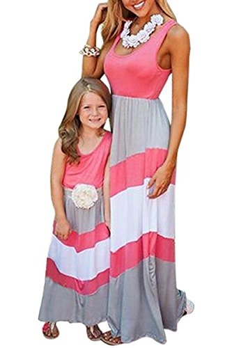 BYM Mother&Daughter Stripe Stitching Dress Casual Family Clothes Maxi Dress Pink+Gray 1-2T