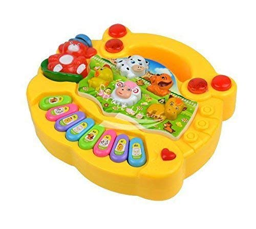 Negi Animal Farm Piano with Beautiful Sound and LED Flash Light for Kids (Colour May Vary)