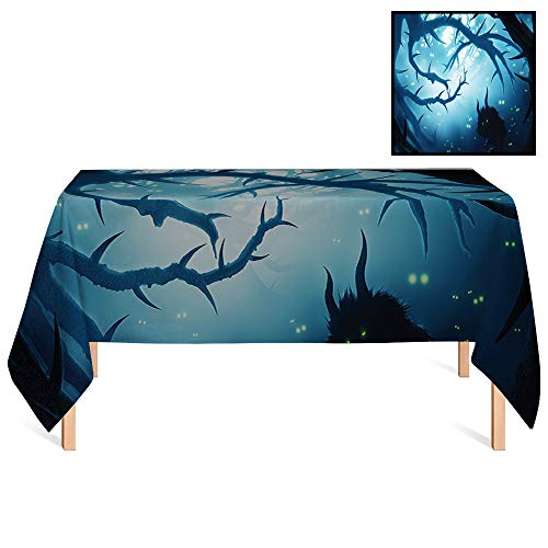 SATVSHOP Dust-Proof Table Cover /60x84 Rectangular,Mystic House Animal with Burning Eyes in Dark Forest at Night Horror Halloween Illustration Navy White.for -