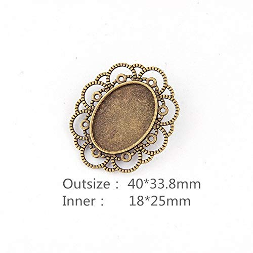 (Triangle-Box - New 18x25mm Antique Bronze Lace Oval Shape Simple Style Handmade Brooch Cabochon Base Cameo Setting For DIY)